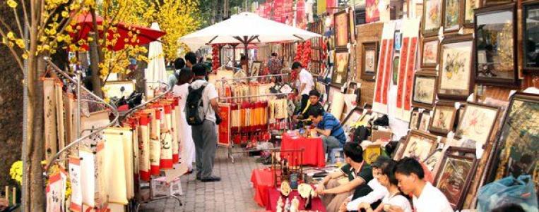 Le Têt traditionnel du Vietnam dans le Vieux Quartier de Hanoï